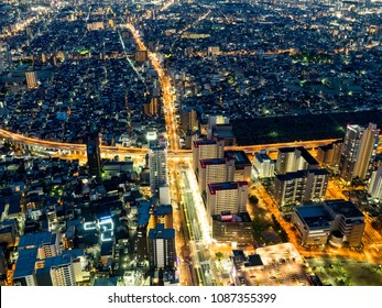 OSAKA,JAPAN-APRIL 15 : City sky view in night on April,15,2018 in Osaka,Japan. Osaka is the second largest metropolitan area in Japan and among the largest in the world with over 19 million inhabitant