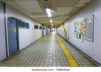Osaka,Japan.April 21,2017. empty underground pathway to the public subway station platform at midnight in osaka,japan.