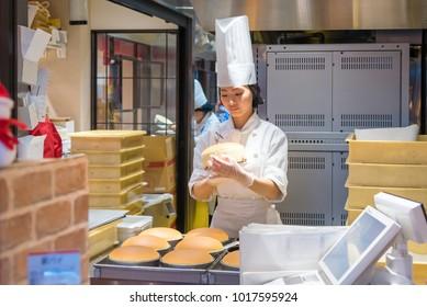 OSAKA,JAPAN-NOV 29: Rikuro Ojisan Cheesecake shop at Namba in Osaka on November 29,2016.Dotonbori is one of the principal tourist destination.