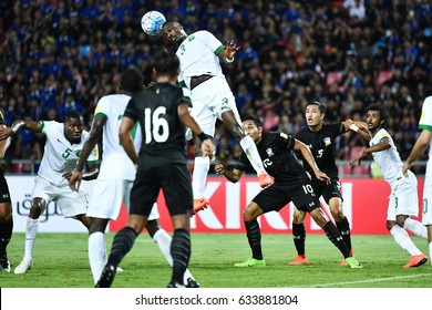 Osama Hawsawi no.3 (white) of Saudi Arabia in action during 2018 FIFA World Cup Qualifier Group B between Thailand and Saudi Arabia at the Rajamangala Stadium on March 23, 2017 in Bangkok,Thailand,