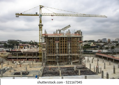 Osasco, Brazil, November 23, 2016. Crane in the building site construction in Osasco city