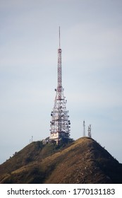 OSASCO, SP, BRAZIL - MAY 21, 2020: Pico do Jaragua in closeup, the highest place in the city of Sao Paulo, 1135 meters high, supports several telecommunications towers.