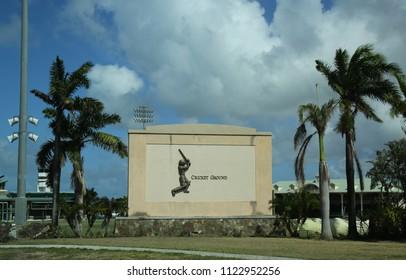 OSBOURN, ANTIGUA AND BARBUDA - JUNE 10, 2018: The Coolidge Cricket Ground in Osbourn, Saint George Parish, Antigua