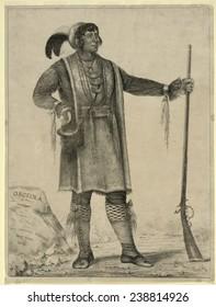 Osceola, Seminole Chief of Florida. lithograph by George Catlin ca. 1838