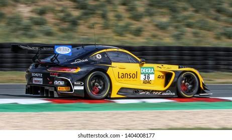 Oschersleben, Germany, April 26, 2019: Mercedes-AMG GT3 of Schutz Motorsport competes during Adac GT Master at Motorsport Arena Oschersleben.