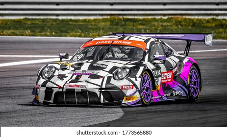 Oschersleben, Germany, April 26, 2019: German racing driver Jan Erik Slooten driving a Porsche 911 GT3 R by Iron Force Racing during a GT MASTER car race at Motorsport Arena in Germany.