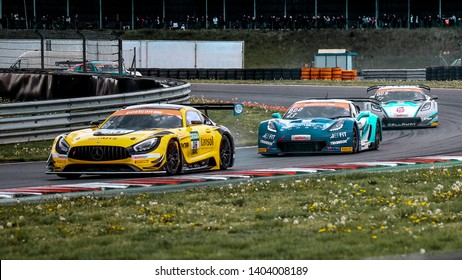 Oschersleben, Germany, April 27, 2019: Mercedes-AMG GT3 of Schutz Motorsport driven by Aidan Read and Marvin Dienst during Adac GT Master at Motorsport Arena Oschersleben.