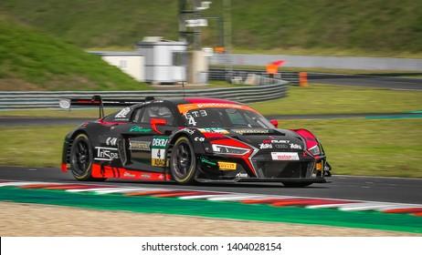 Oschersleben, Germany, April 27, 2019: AUDI R8 LMS of Aust Motorsport during ADAC GT Master at Motorsport Arena Oschersleben.