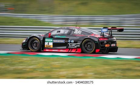 Oschersleben, Germany, April 27, 2019: AUDI R8 LMS of Aust Motorsport in action during ADAC GT Master at Motorsport Arena Oschersleben.