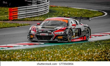 Oschersleben, Germany, April 27, 2019: Arlind Hoti driving the Audi R8 LMS by Aust Motorsport during GT MASTER car race at Motorsport Arena in Oschersleben.