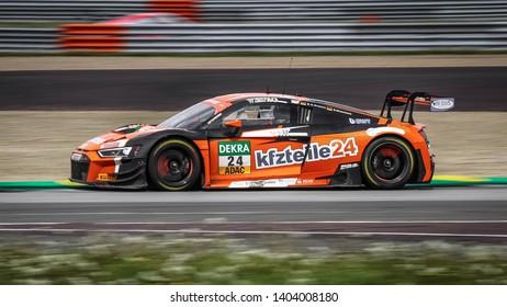Oschersleben, Germany, April 28, 2019: Audi R8 LMS GT4 of BWT Mucke Motorsport driven by Mike Ortmann in action during Adac GT Master at Motorsport Arena Oschersleben.