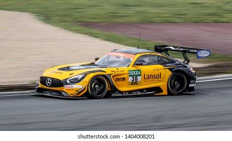 Oschersleben, Germany, April 28, 2019: Mercedes-AMG GT3 of Schutz Motorsport driven by Aidan Read competes during Adac GT Master at Motorsport Arena Oschersleben.