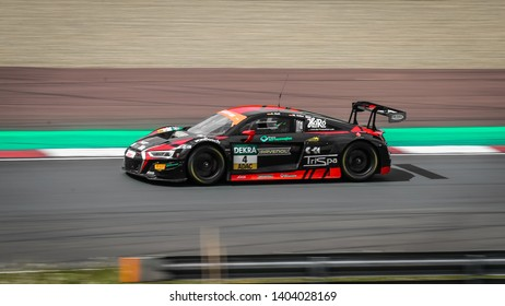Oschersleben, Germany, April 28, 2019: AUDI R8 LMS of Aust Motorsport driven by Arlind Hoti during ADAC GT Master at Motorsport Arena Oschersleben.