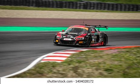 Oschersleben, Germany, April 28, 2019: AUDI R8 LMS of Aust Motorsport driven by Arlind Hoti competes during ADAC GT Master at Motorsport Arena Oschersleben.