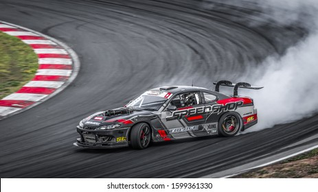 Oschersleben, Germany, August 30, 2019: Nicolas Maunoir driving the Nissan Silvia S15 during the Drift Kings Europe Round 6 Germany at Motorsport Arena.