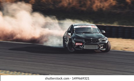 Oschersleben, Germany, August 31, 2019: Czech racing driver Marco Zakouril in action during the Drift Kings Europe Round 6 at 4th Asia Arena in Motorsport Arena Oschersleben.
