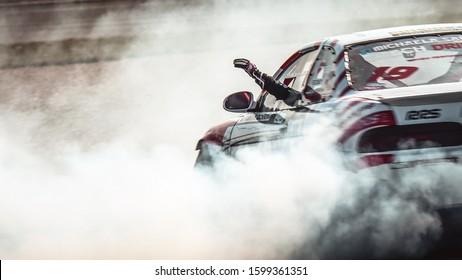 Oschersleben, Germany, August 31, 2019: Czech racing driver Michaela Frantina Sacherova driving a Lexus SC300 during the Drift Kings International Series at Motorsport Arena in Germany.