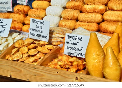 Oscypek cheese - traditional mountain product of Poland, Zakopane. Cheese is made of goat, cow and sheep milk (on description)