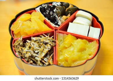 Osechi-ryori which are specially-prepared New Year's dishes to be eaten during the first three days of January