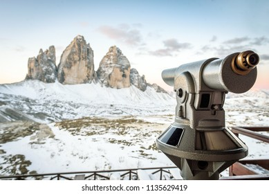 oservation point to Tre Cime di Laveredo, three mountain peaks in Tre Cime di Lavaredo National Park, Sesto Dolomites, South Tyrol, Italy Alps