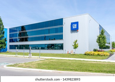 Oshawa, Ontario, Canada - July 01, 2019: Sign of GM Canada on the building at GM Assembly in Oshawa, Ontario, Canada.