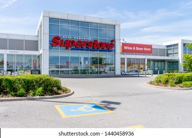 Oshawa, Ontario, Canada - July 01, 2019: Real Canadian Superstore in Oshawa, Ontario, Canada, a chain of supermarkets owned by Canadian food retailing giant Loblaw Companies.