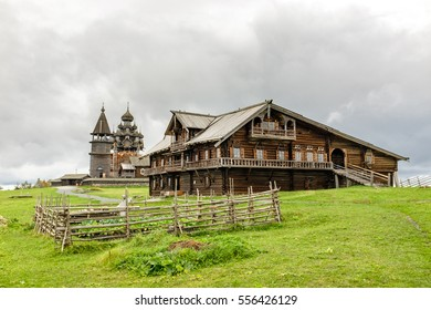 Oshevnev peasant historical wooden house from Russian Zaonezhye (Onega lake north-west) in front of Kizhi churchyard, UNESCO world heritage site, Karelia