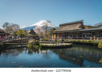 Oshino Hakkai/ Japan - April 15th 2016:  beautiful view of Fuji Mountain from Oshino Hakkai the small village in Fuji Five Lakes region, one of the famous tourist destination