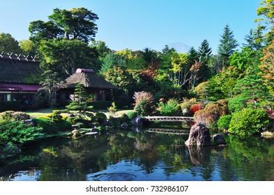Oshino Hakkai is a touristy set of eight ponds in Oshino, a small village in the Fuji Five Lake region.