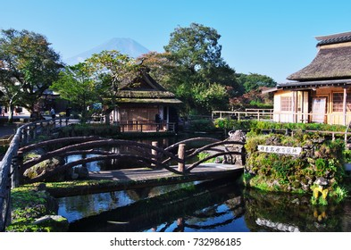 """Oshino Hakkai is a touristy set of eight ponds in Oshino, a small village in the Fuji Five Lake region. Japanese written on the stones is """"One of 100 Selected place of good water-spring in Japan""""."""