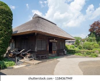 Oshino Hakkai/Japan - August 4 2018: Traditional house at Oshino Hakkai village, Japan. Oshino Hakkai is a small village in the Fuji Five Lake region, between Lake Kawaguchiko and Lake Yamanakako.