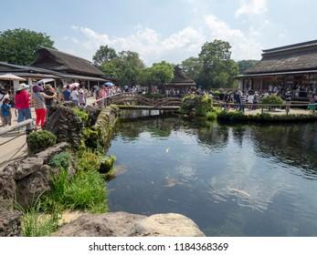 Oshino Hakkai/Japan - August 4 2018: Lake at Oshino Hakkai village, Japan. Oshino Hakkai is a small village in the Fuji Five Lake region, located between Lake Kawaguchiko and Lake Yamanakako.