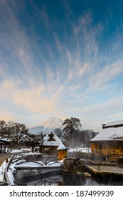 Oshino Village and Mount Fuji, after the heavy snow storms in the past 120 years in 20 February 2014
