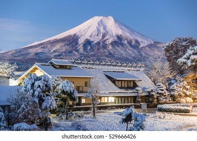 Oshino village,Japan. background Fuji.