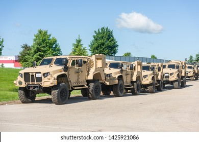 Oshkosh, WI - 10 June 2019:  A JLTV Joint Light  Tactical Vehicle that replaced the Hummer built by Oshkosh Truck.