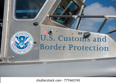 Oshkosh, WI - 24 July 2017:  A US customs and border control homeland security sign on a boat