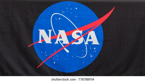 Oshkosh, WI - 24 July 2017:  A NASA logo on a table cloth at a display booth.
