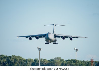 Oshkosh, WI - 28 July 2018:  A C-5 Galaxy preparing to land with landing gear down at an airshow
