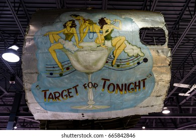 Oshkosh, WI - 3 March 2017: A piece of nose art from WWII aircraft featuring Target for Tonight