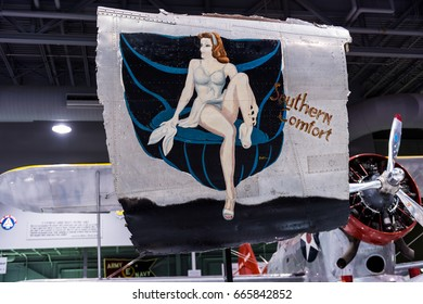 Oshkosh, WI - 3 March 2017: A piece of nose art from WWII aircraft featuring Soutern Comfort