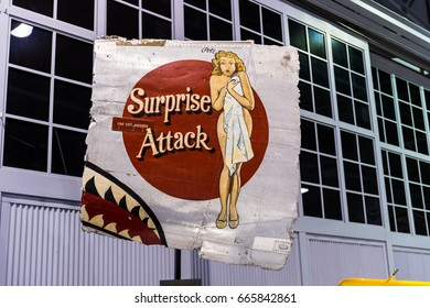 Oshkosh, WI - 3 March 2017: A piece of nose art from WWII aircraft featuring Surprise Attack