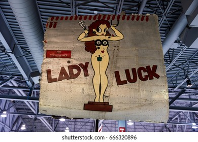 Oshkosh, WI - 3 March 2017: A piece of nose art from WWII aircraft featuring Lady Luck