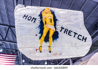 Oshkosh, WI - 3 March 2017: A piece of nose art from WWII aircraft featuring Home Stretch