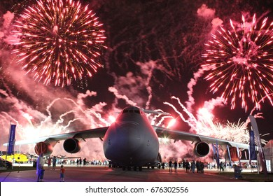 OSHKOSH, WI at Airventure 2016. A United States Air Force C5 Galaxy sits in front of the Airventure firework show.
