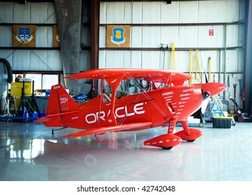 OSHKOSH, WI - AUGUST 1: Sean Tucker's famous Oracle aerobatic airplane in the performers' hangar at EAA AirVenture August 1, 2009 in Oshkosh, Wisconsin.