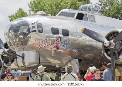OSHKOSH, WI - JULY 27: A B-17 Flying Fortress Yankee Lady warbird on display at the 2012 AirVenture at EAA on July 27, 2012 in Oshkosh, Wisconsin.