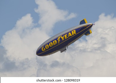 OSHKOSH, WI - JULY 27: Spirit of GoodYear Blimp Flying at the 2012 AirVenture at EAA on July 27, 2012 in Oshkosh, Wisconsin.