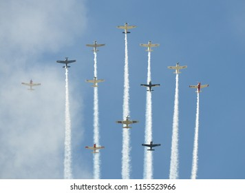 Oshkosh, WI / USA - July 25, 2017: Corsair warbirds in formation at EAA Airventure