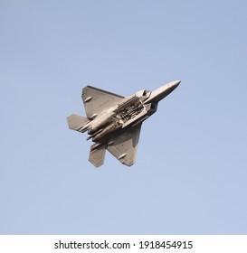Oshkosh, WI USA - July 25 2019 : F-22 Raptor Fighter Jet with Bomb Bay Doors Open