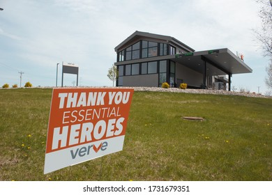 Oshkosh, WI / USA - May 13, 2020: Verve bank in Oshkosh on Washburn Street thanks essential heroes and its employees with a yard sign outside of the building.